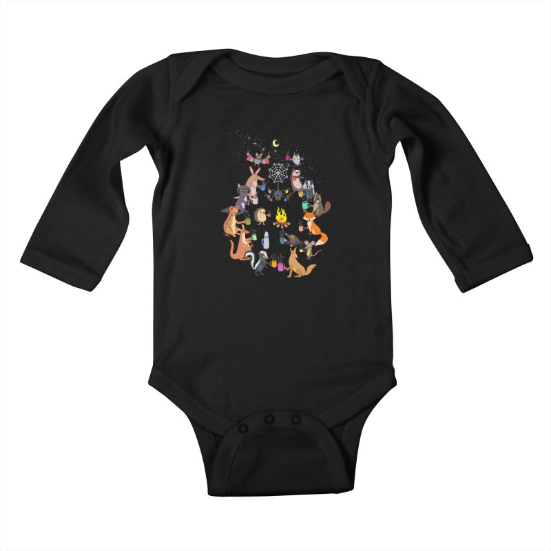 Nocturnal Shift Kids Baby Longsleeve Bodysuit by kooky love's Artist Shop