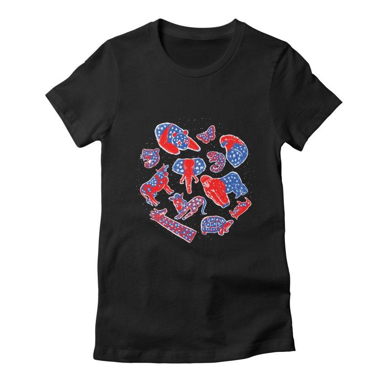 AMERICANIMAL Women's Fitted T-Shirt by kooky love's Artist Shop