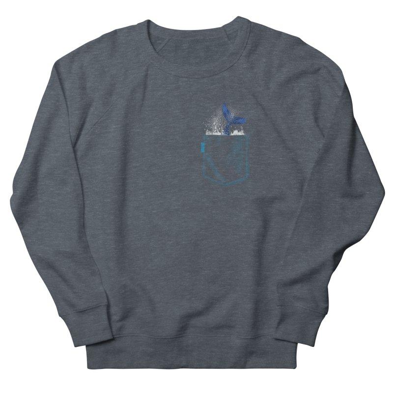 Meanwhale in my pocket Women's French Terry Sweatshirt by kooky love's Artist Shop