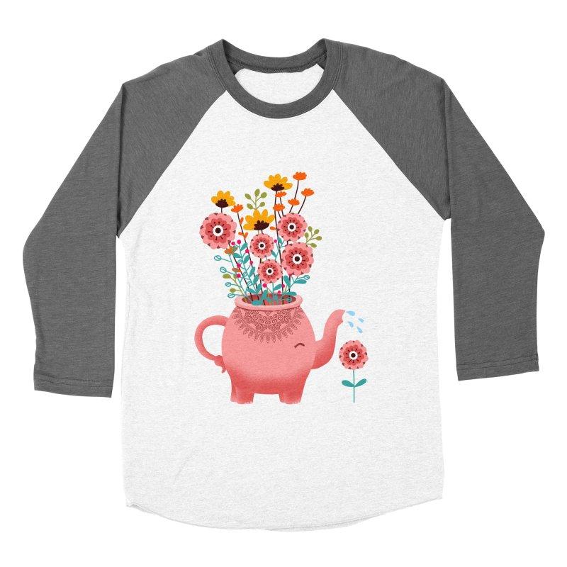 Elephant Flower Women's Baseball Triblend Longsleeve T-Shirt by kooky love's Artist Shop