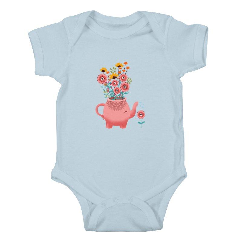 Elephant Flower Kids Baby Bodysuit by kooky love's Artist Shop