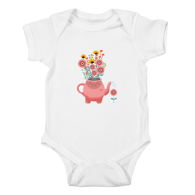 Elephant Flower Kids Baby Bodysuit by kooky love's Artist Shop