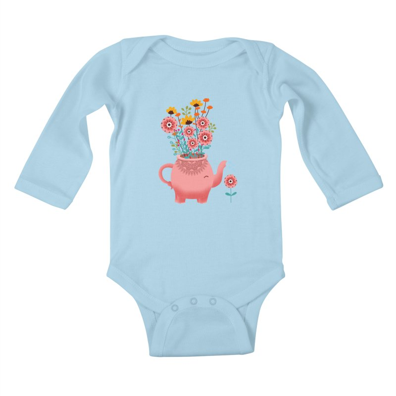 Elephant Flower Kids Baby Longsleeve Bodysuit by kooky love's Artist Shop