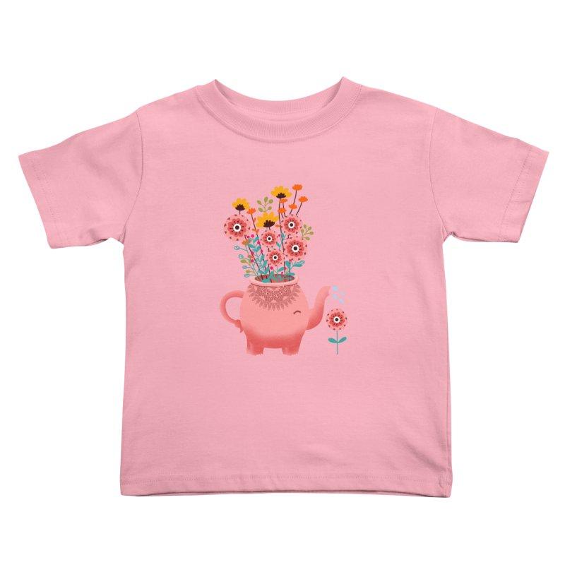 Elephant Flower Kids Toddler T-Shirt by kooky love's Artist Shop
