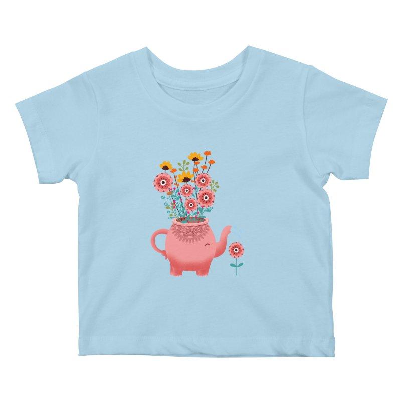 Elephant Flower Kids Baby T-Shirt by kooky love's Artist Shop