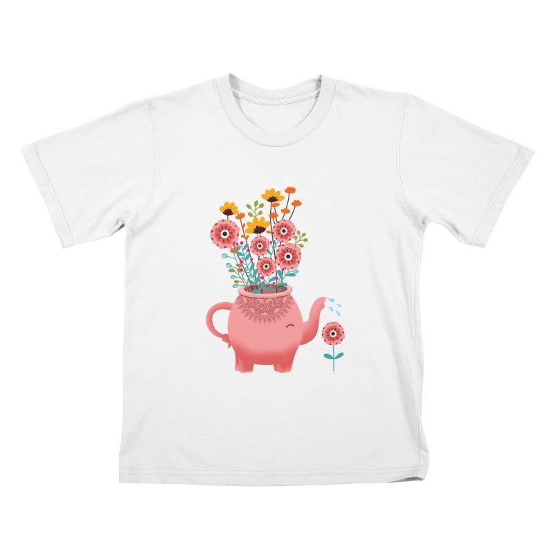 Elephant Flower Kids T-Shirt by kooky love's Artist Shop