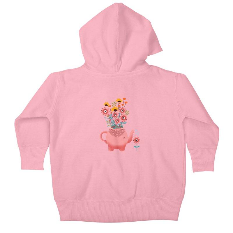 Elephant Flower Kids Baby Zip-Up Hoody by kooky love's Artist Shop