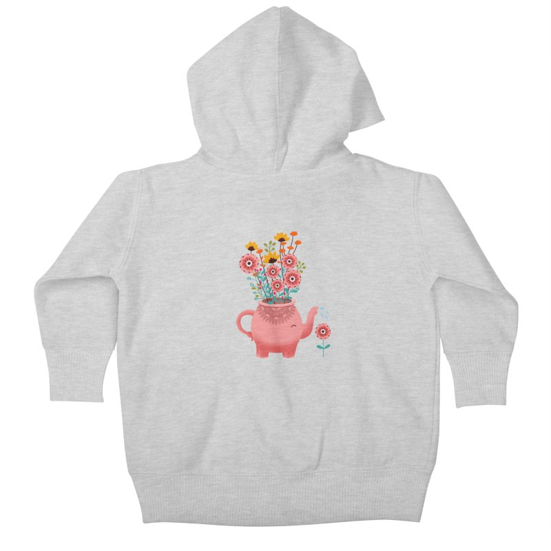 Elephant Flower Kids Baby Zip-Up Hoody by kooky love's Artist Shop