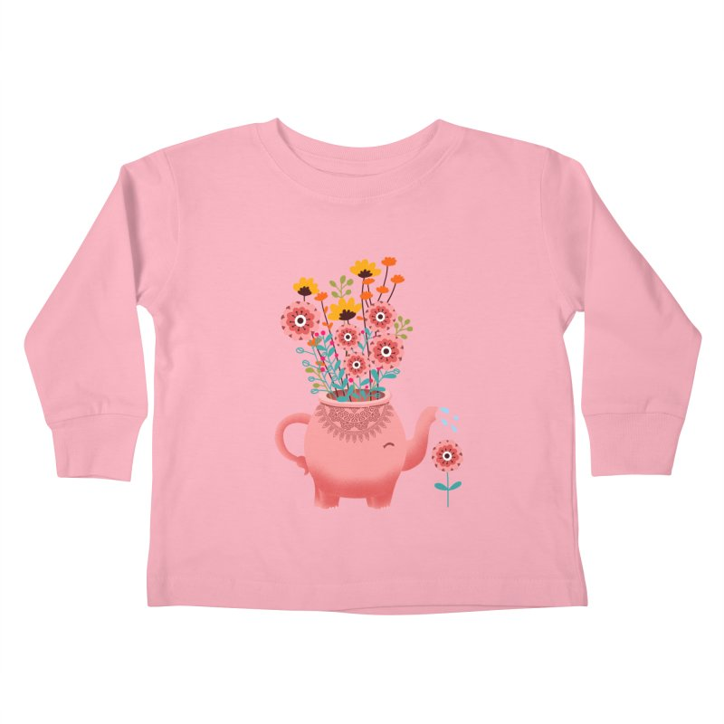 Elephant Flower Kids Toddler Longsleeve T-Shirt by kooky love's Artist Shop