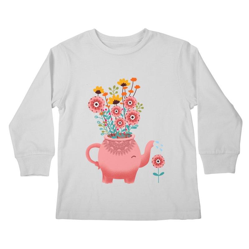 Elephant Flower Kids Longsleeve T-Shirt by kooky love's Artist Shop
