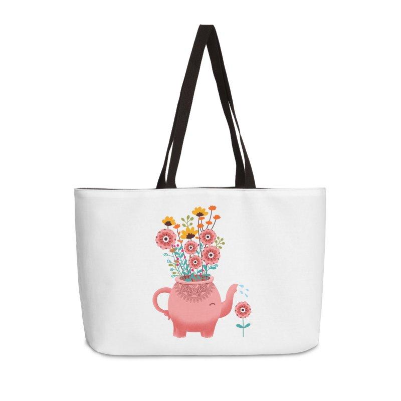 Elephant Flower Accessories Weekender Bag Bag by kooky love's Artist Shop