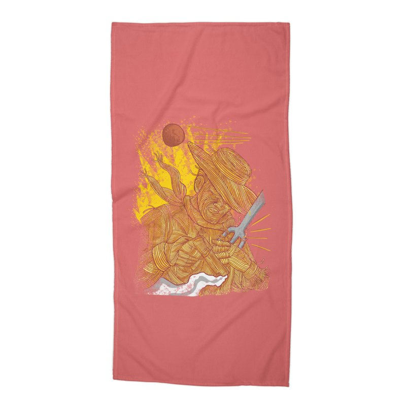 Spaghetti Cowboy Accessories Beach Towel by kooky love's Artist Shop