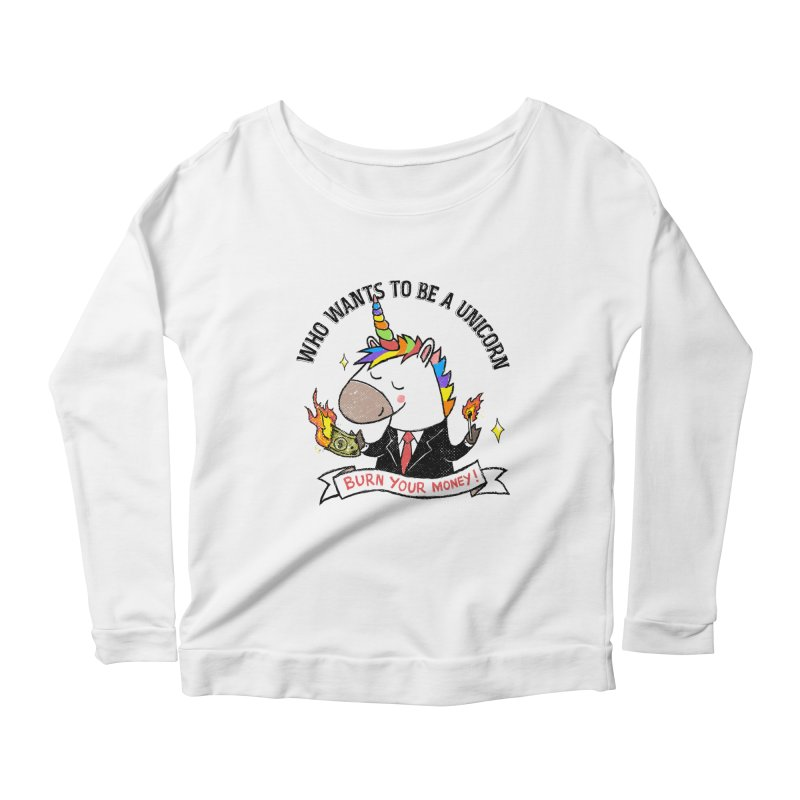 Burning Money Women's Scoop Neck Longsleeve T-Shirt by kooky love's Artist Shop