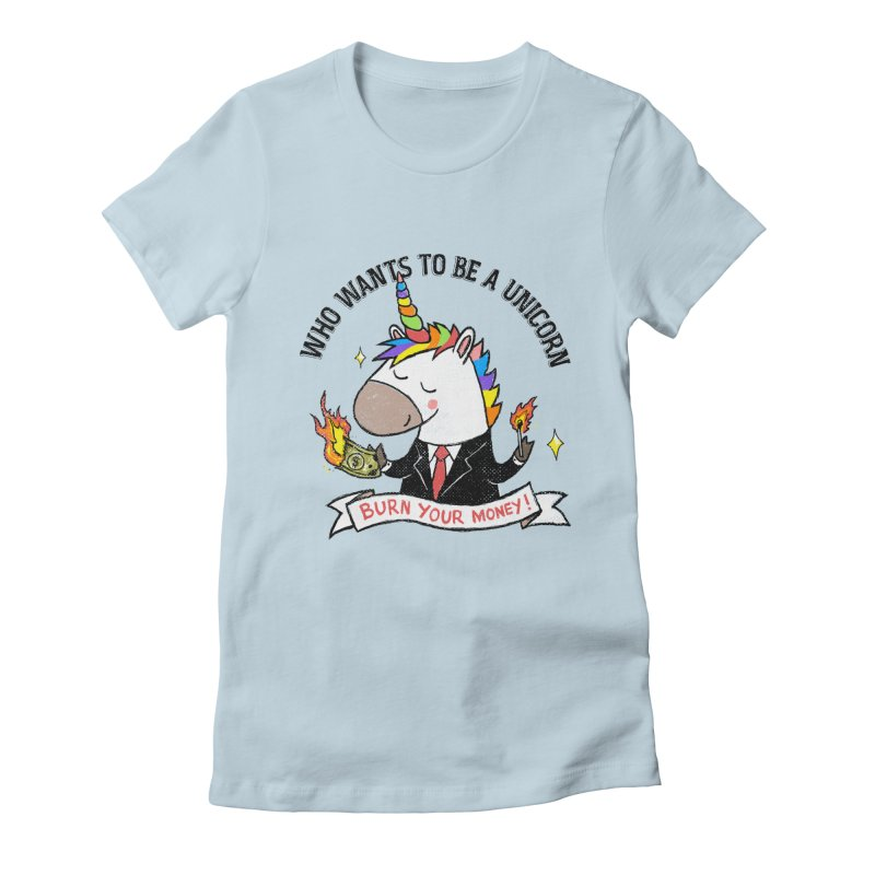 Burning Money Women's Fitted T-Shirt by kooky love's Artist Shop