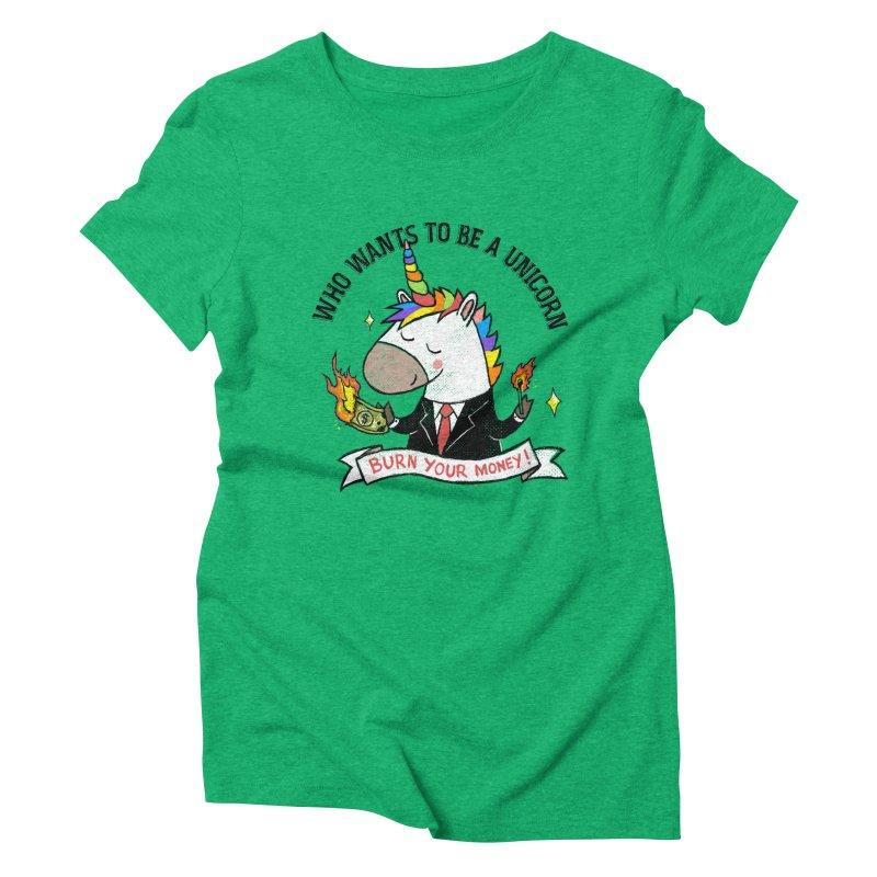 Burning Money Women's Triblend T-Shirt by kooky love's Artist Shop