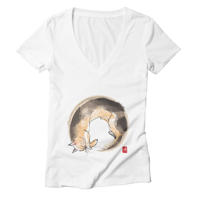 Sleeping is my zen Women's Deep V-Neck V-Neck by kooky love's Artist Shop