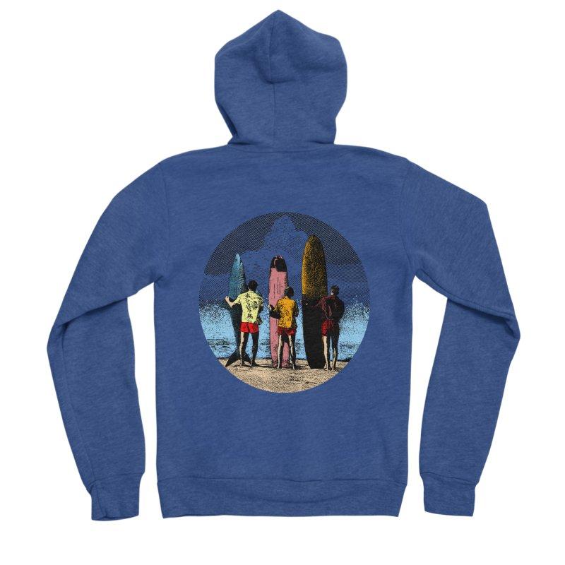 Shark Surfer Men's Sponge Fleece Zip-Up Hoody by kooky love's Artist Shop