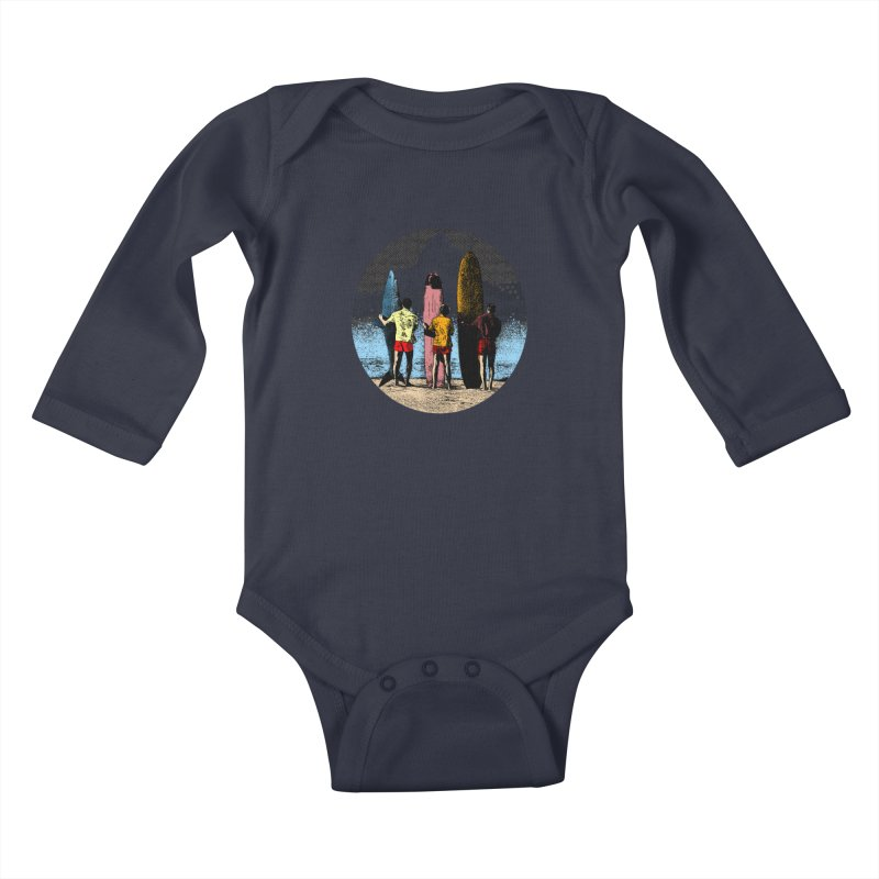 Shark Surfer Kids Baby Longsleeve Bodysuit by kooky love's Artist Shop