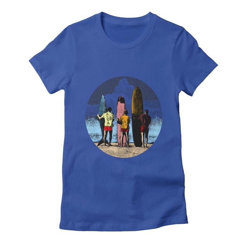 Shark Surfer Women's Fitted T-Shirt by kooky love's Artist Shop
