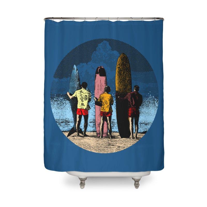 Shark Surfer Home Shower Curtain by kooky love's Artist Shop