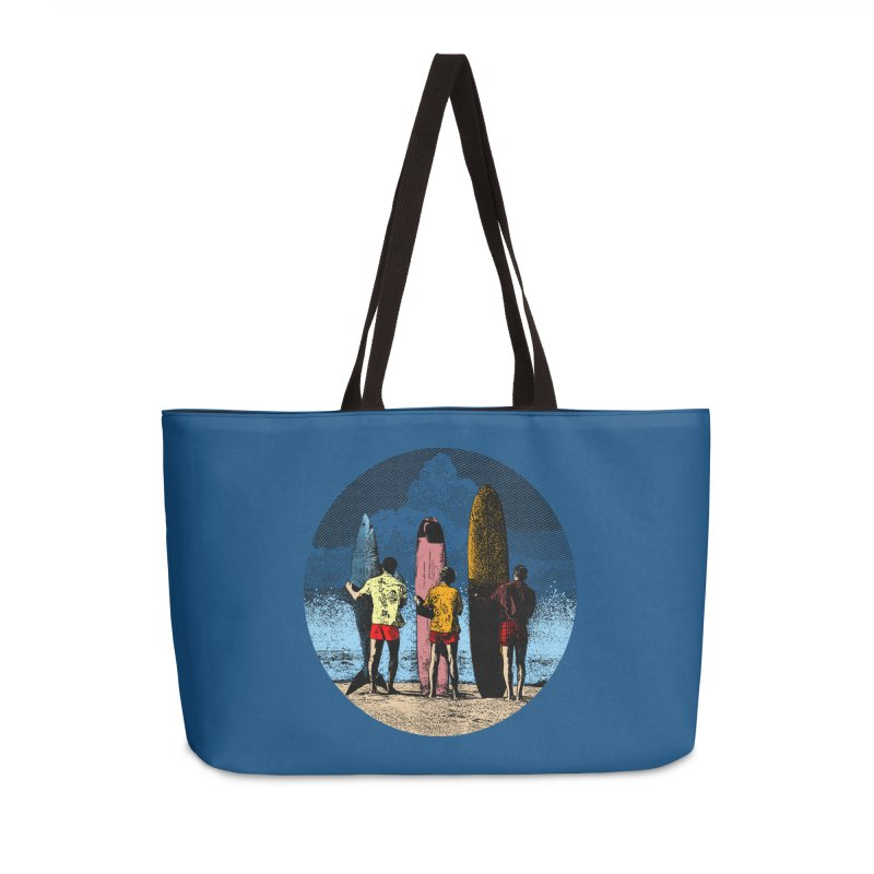 Shark Surfer Accessories Weekender Bag Bag by kooky love's Artist Shop