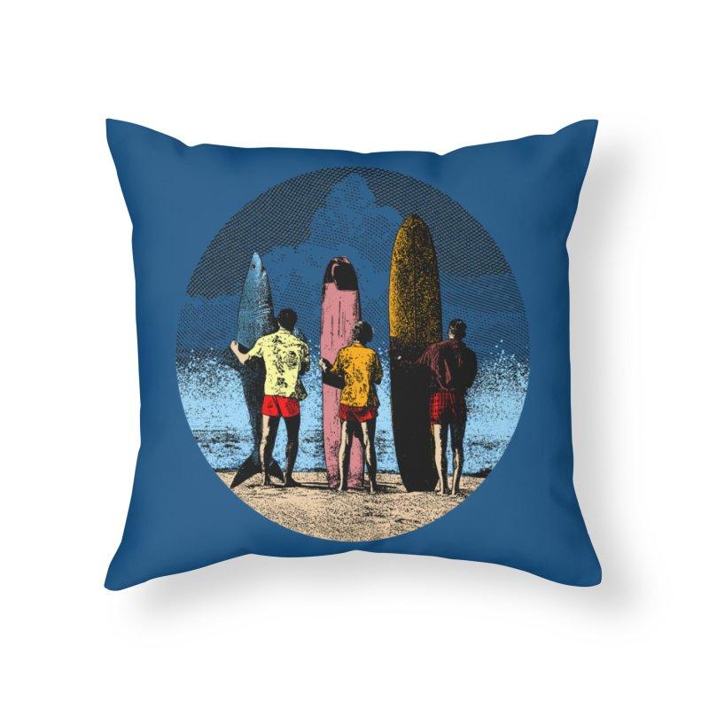 Shark Surfer Home Throw Pillow by kooky love's Artist Shop