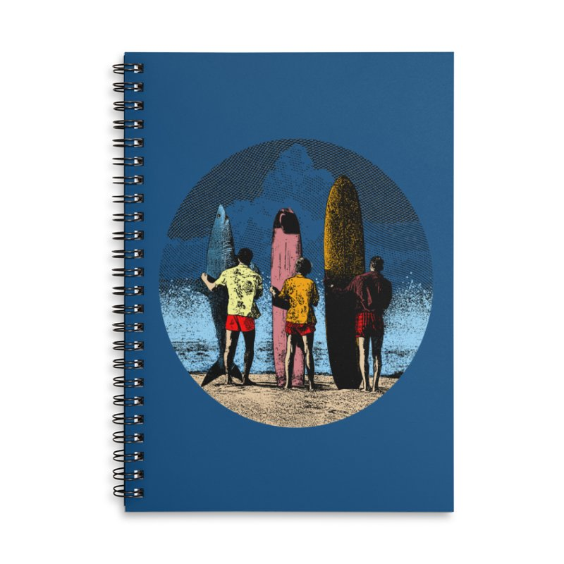 Shark Surfer Accessories Lined Spiral Notebook by kooky love's Artist Shop