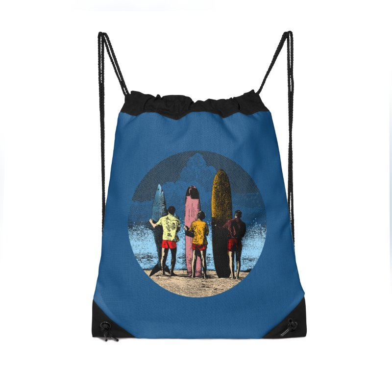 Shark Surfer Accessories Drawstring Bag Bag by kooky love's Artist Shop