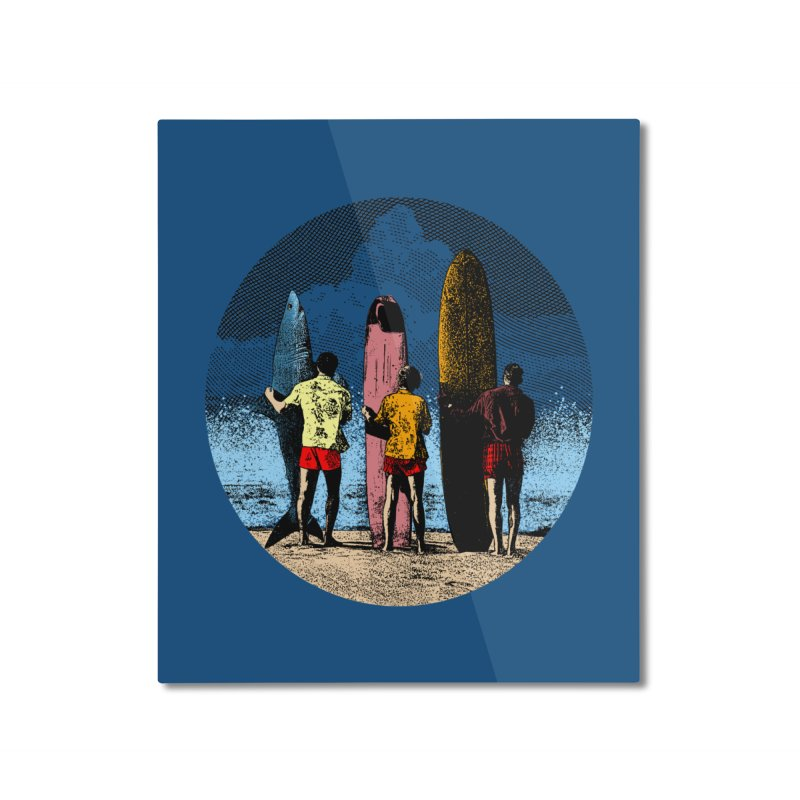Shark Surfer Home Mounted Aluminum Print by kooky love's Artist Shop