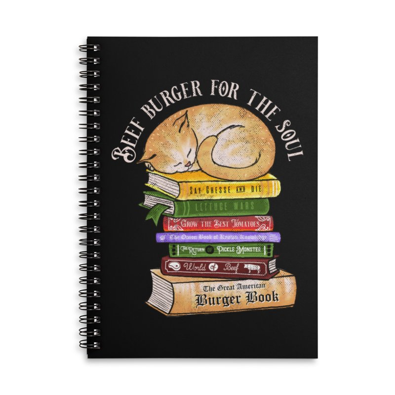 Beef Burger for The Soul Accessories Lined Spiral Notebook by kooky love's Artist Shop