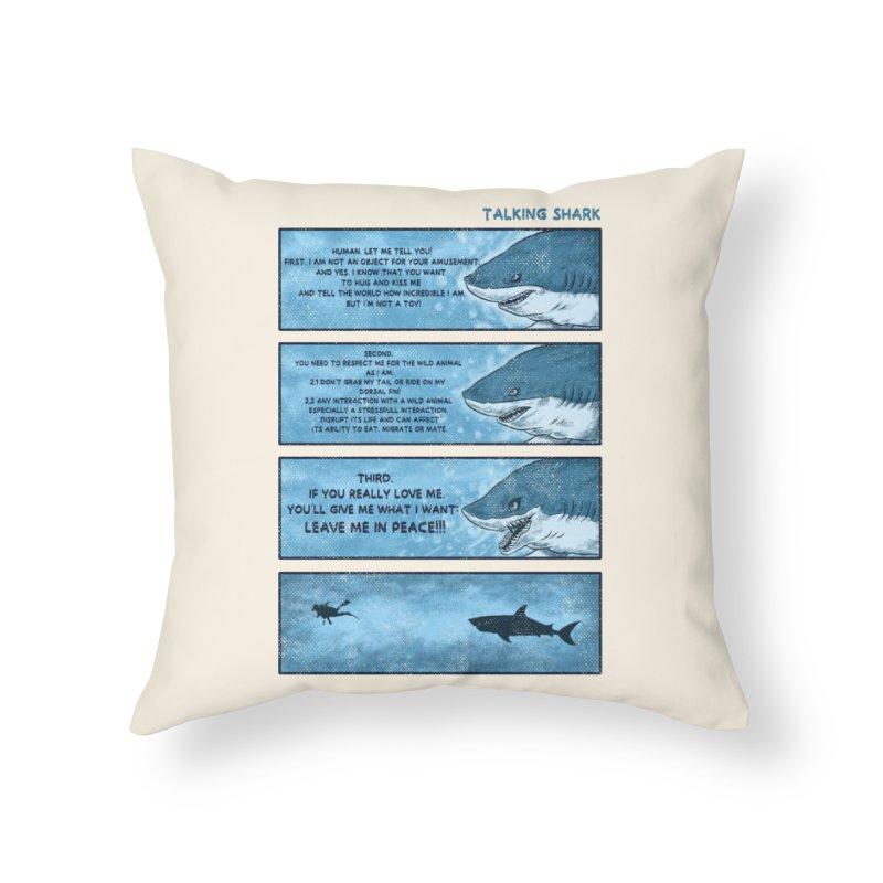 Talking Shark Home Throw Pillow by kooky love's Artist Shop