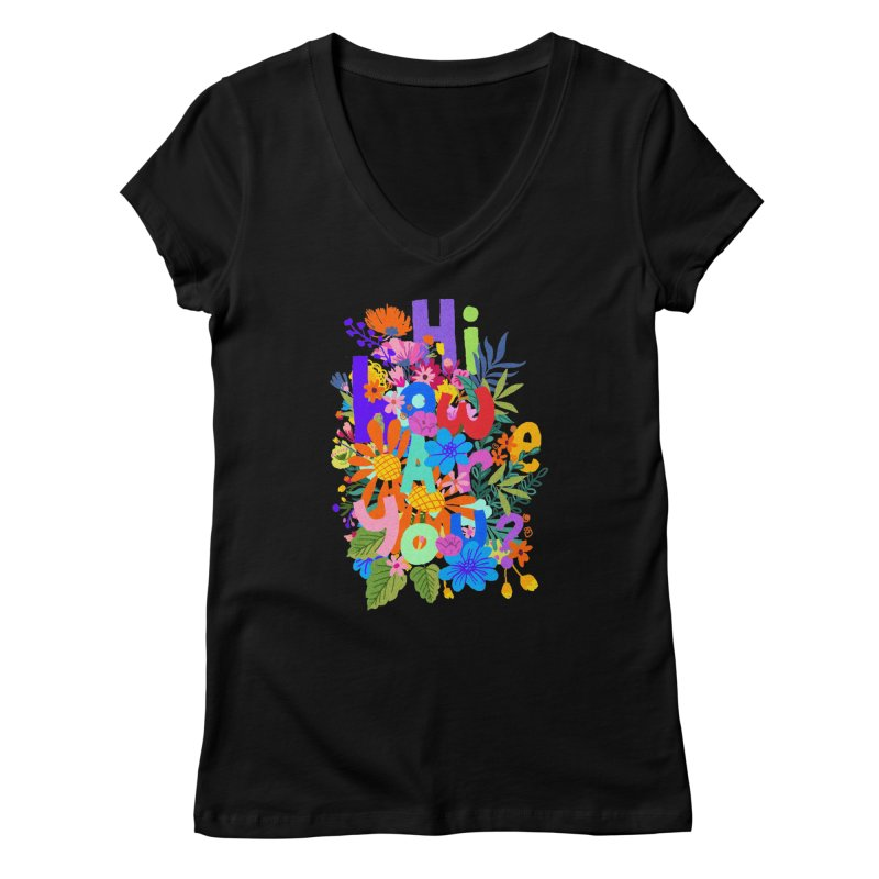 Hi how are you ? Women's V-Neck by kooky love's Artist Shop