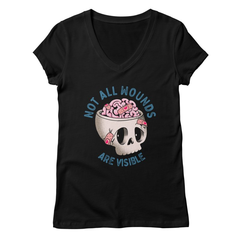 NOT ALL WOUNDS ARE VISIBLE Women's V-Neck by kooky love's Artist Shop