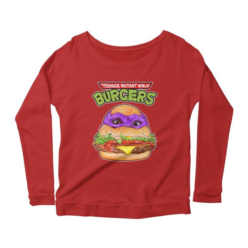 Ninja Burger Women's Longsleeve Scoopneck  by kooky love's Artist Shop