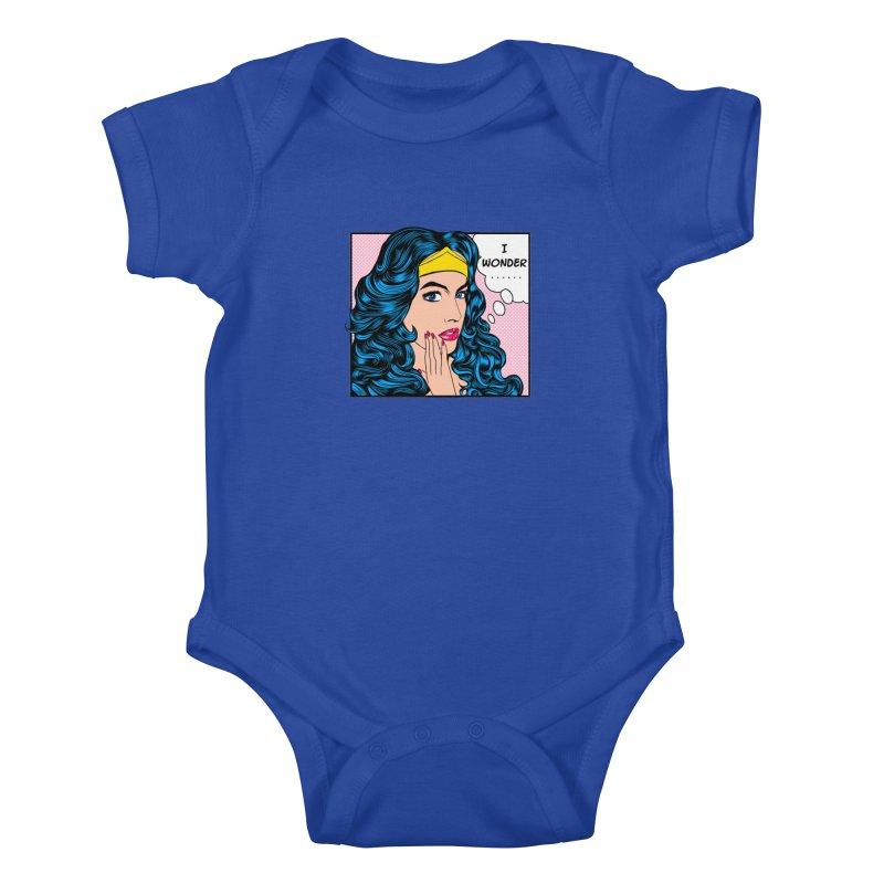 Wondering Woman Kids Baby Bodysuit by kooky love's Artist Shop