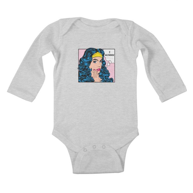 Wondering Woman Kids Baby Longsleeve Bodysuit by kooky love's Artist Shop