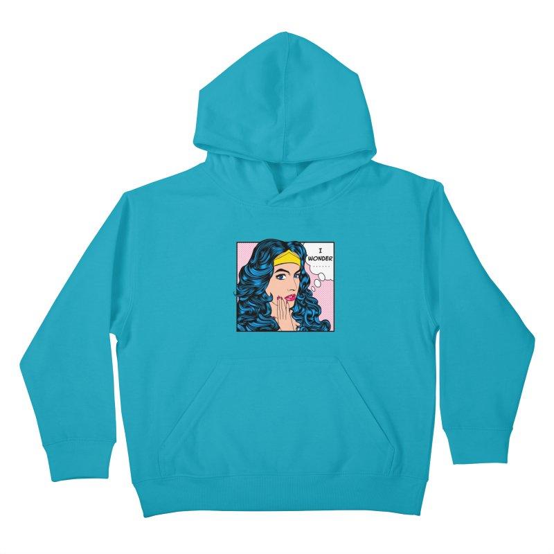 Wondering Woman Kids Pullover Hoody by kooky love's Artist Shop