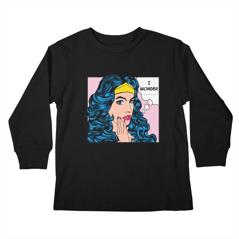 Wondering Woman Kids Longsleeve T-Shirt by kooky love's Artist Shop