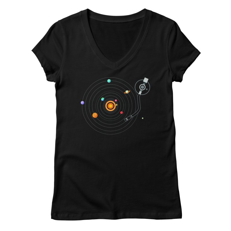 OUR SOLAR SYSTEM IS A VINYL Women's V-Neck by kooky love's Artist Shop