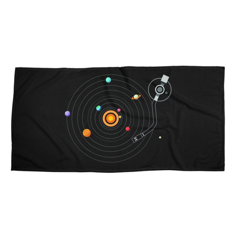 OUR SOLAR SYSTEM IS A VINYL Accessories Beach Towel by kooky love's Artist Shop