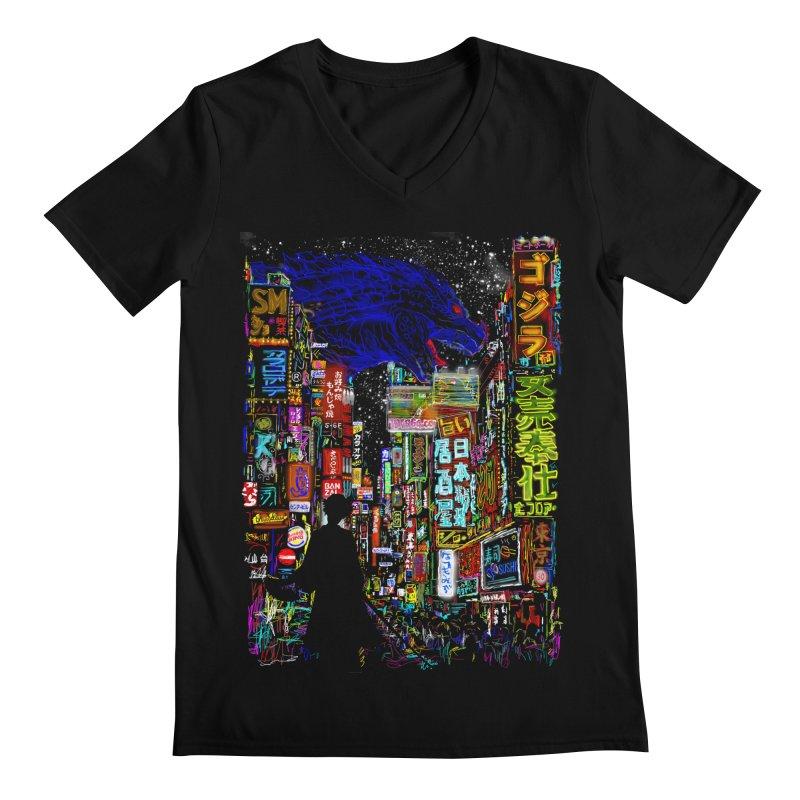 Kaiju City Men's V-Neck by kooky love's Artist Shop