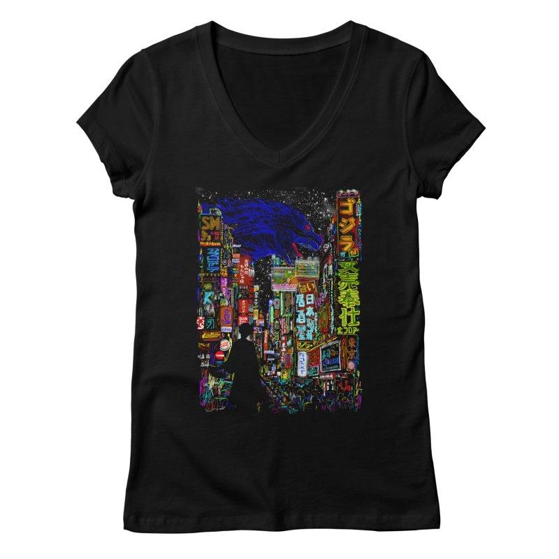 Kaiju City Women's V-Neck by kooky love's Artist Shop