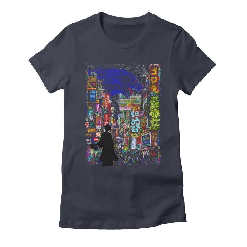 Kaiju City Women's Fitted T-Shirt by kooky love's Artist Shop