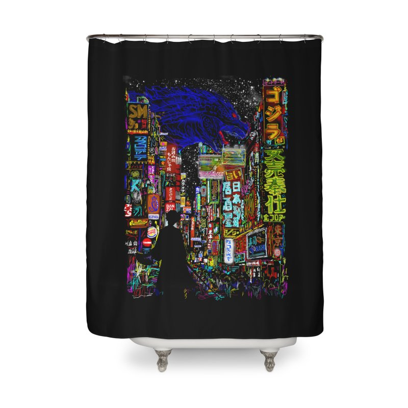 Kaiju City Home Shower Curtain by kooky love's Artist Shop