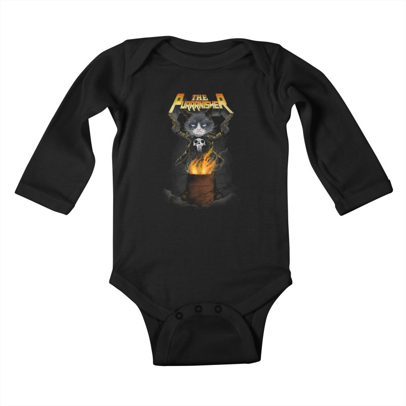 The Purrrnisher Kids Baby Longsleeve Bodysuit by kooky love's Artist Shop