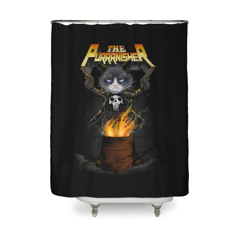 The Purrrnisher Home Shower Curtain by kooky love's Artist Shop