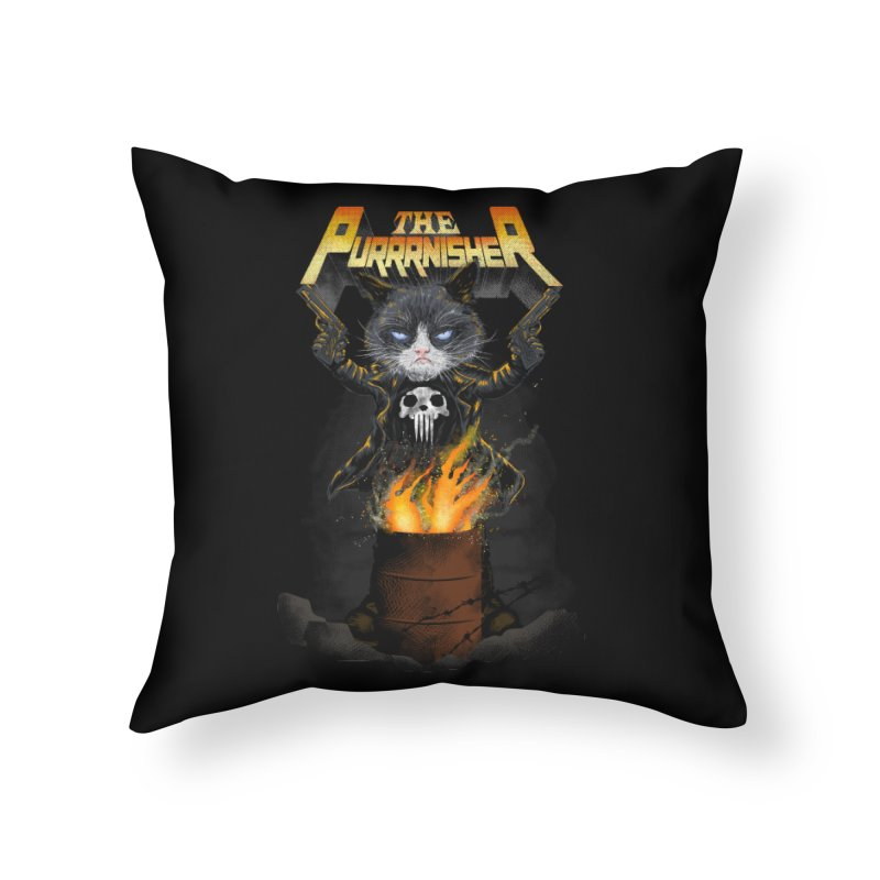 The Purrrnisher Home Throw Pillow by kooky love's Artist Shop