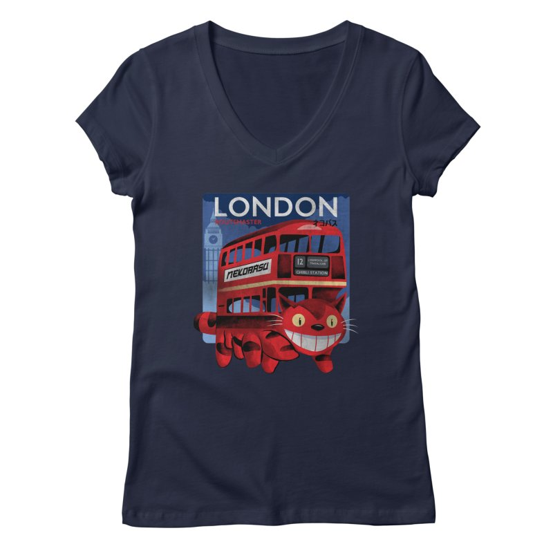 London Nekobasu Women's Regular V-Neck by kooky love's Artist Shop