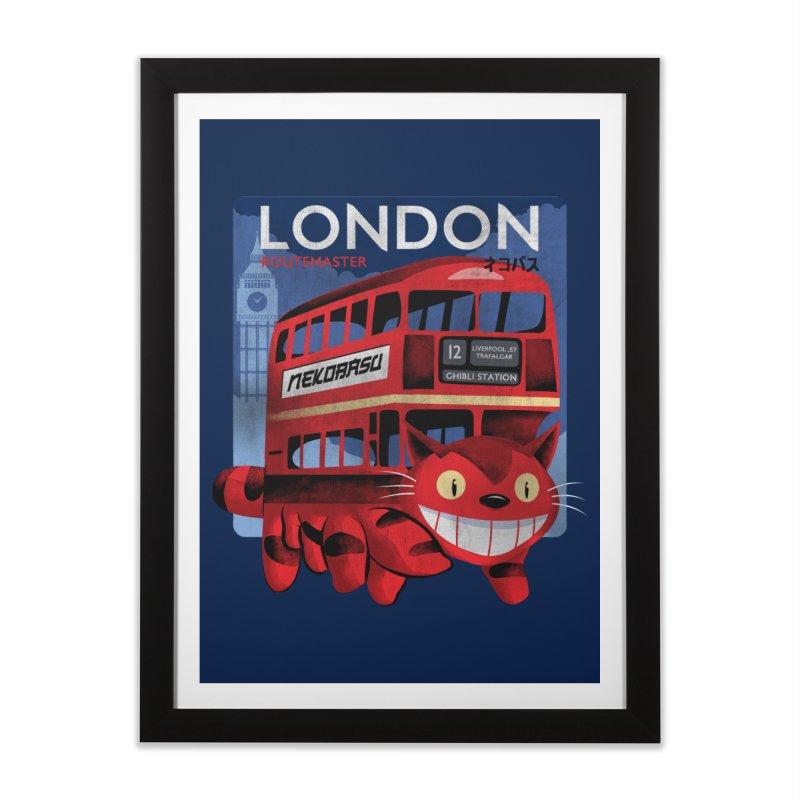 London Nekobasu Home Framed Fine Art Print by kooky love's Artist Shop