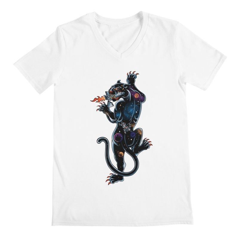 Space Panther Men's Regular V-Neck by kooky love's Artist Shop